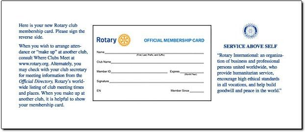 Rotary Club Membership Cards - Home Page