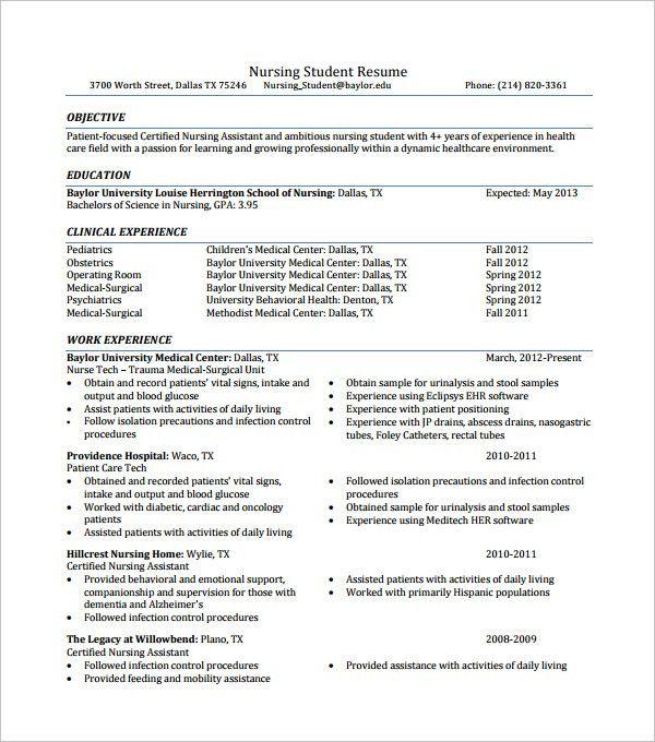 Resume Template Nursing