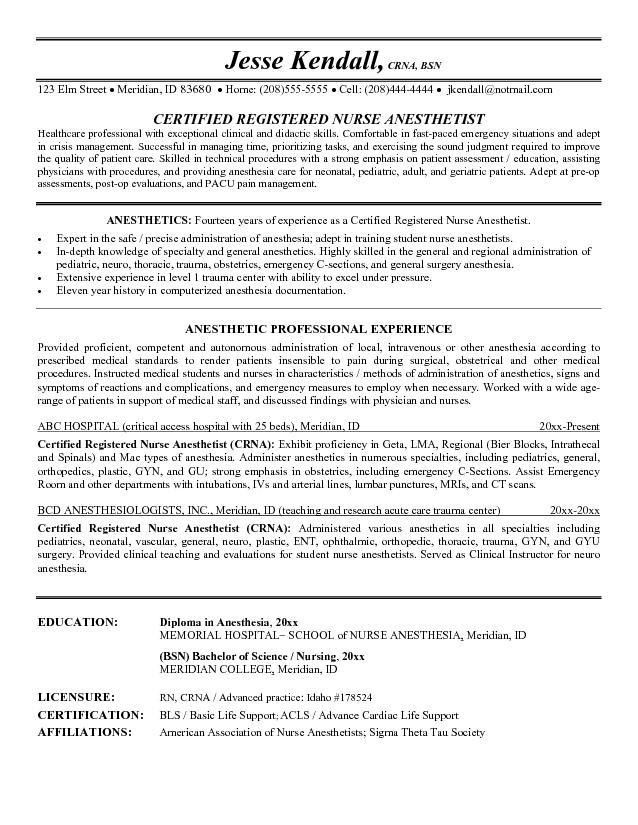 Example Nurse Anesthetist Resume - Free Sample