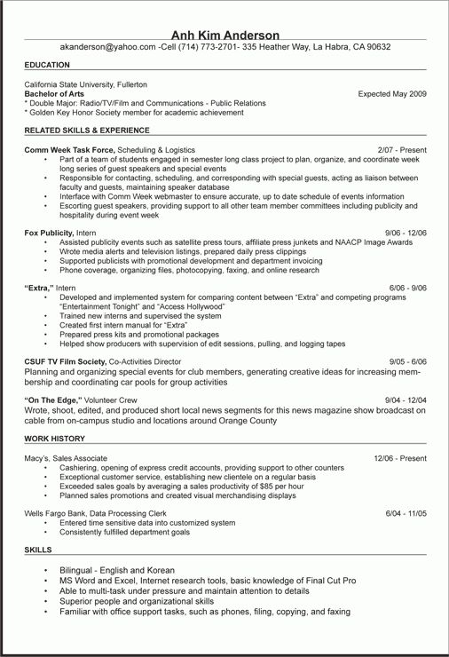 Resume After College | berathen.Com