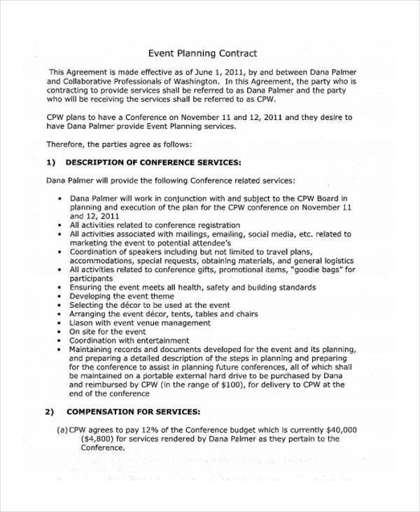event planning contract samples purchase order form example event ...