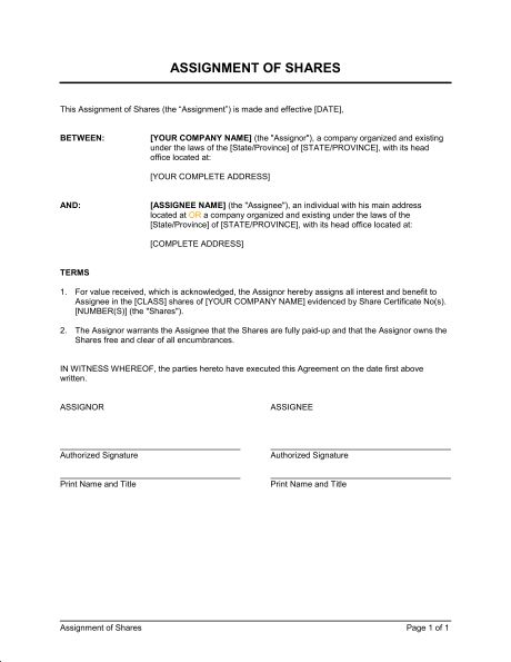 Shares Transfer Agreement Short - Template & Sample Form | Biztree.com