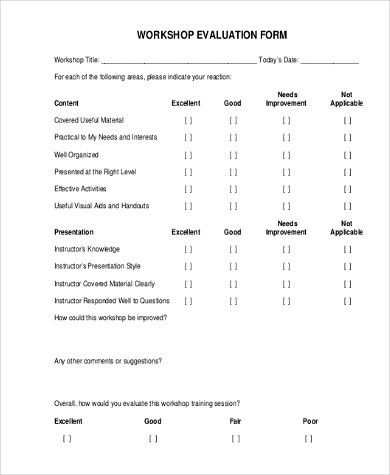 Workshop Evaluation Form Sample   9+ Free Documents In Word, PDF