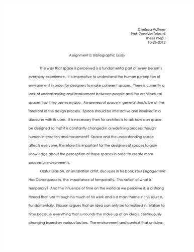bibliographic essay format