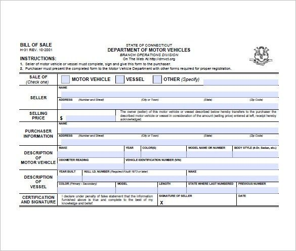 Bill of Sale Form – 10+ Free Sample, Example, Format Download ...