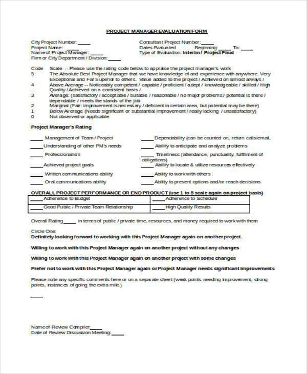 Sample Manager Evaluation Forms - 10+ Free Documents in Word, PDF