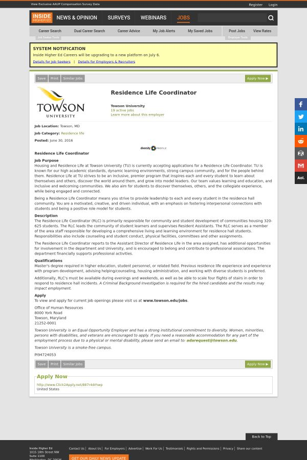 Residence Life Coordinator job at Towson University in Towson, MD ...