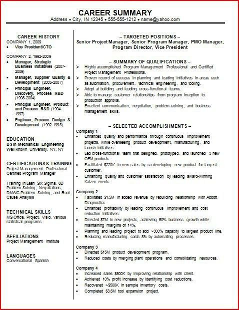 how to write a summary of qualifications resume companion. summary ...