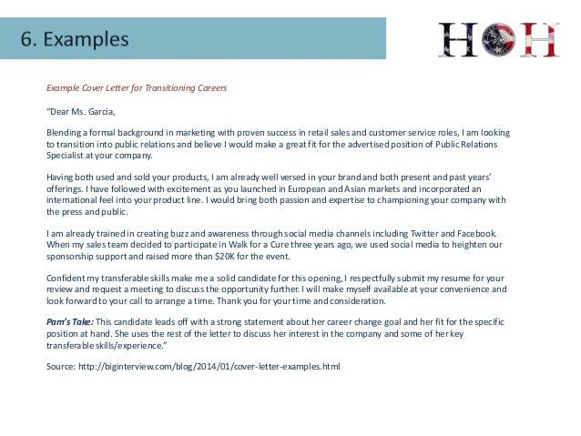 Example Cover Letter for Transitioning