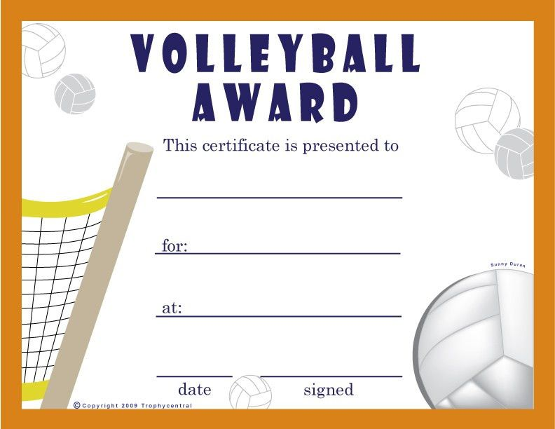 Free Volleyball Certificates $0.00 | Sports | Pinterest ...