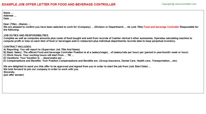 Food And Beverage Controller Offer Letter