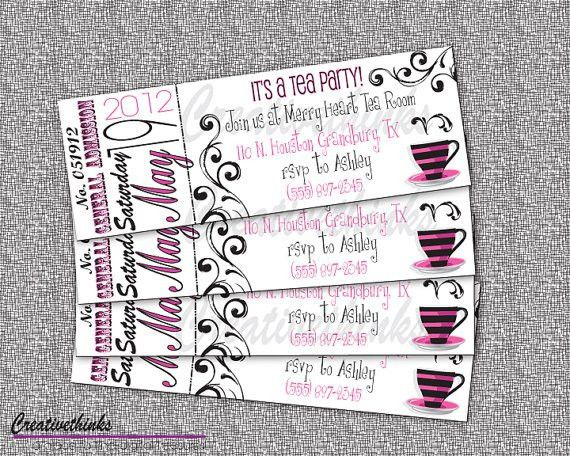 Printable Tea Party Ticket Invitation Digital by creativethinks ...