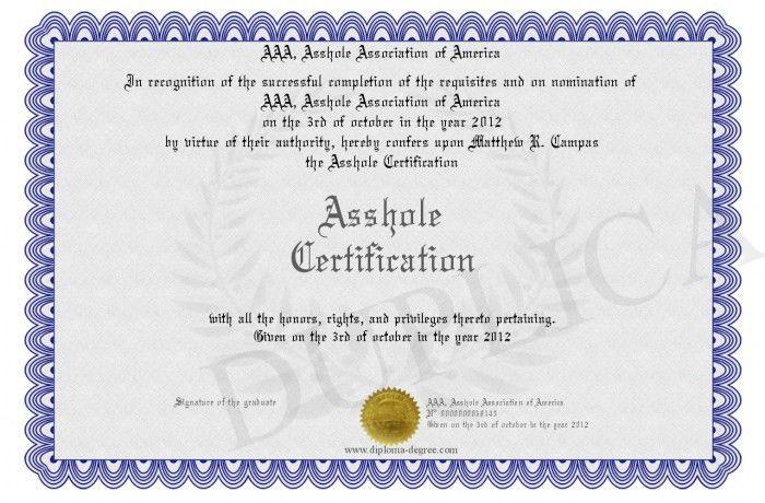 Asshole-Certification