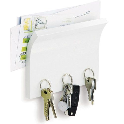 Letter Holder and Magnetic Key Rack - White in Mail Organizers