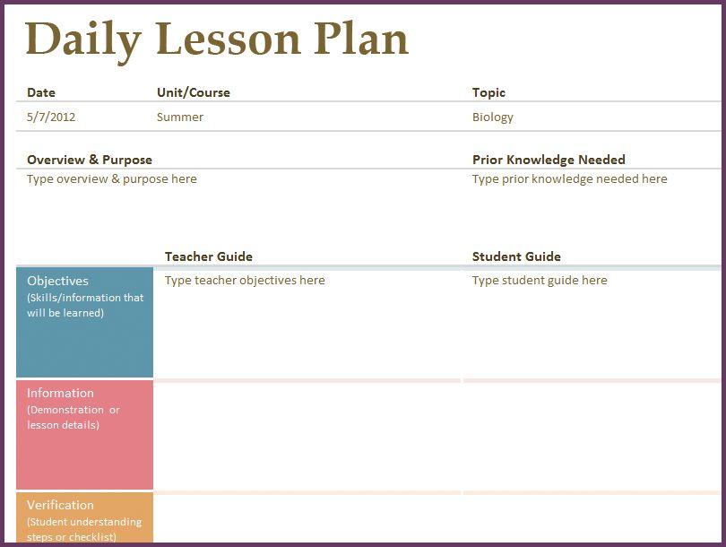 LESSON PLAN TEMPLATE DOC | cvsampleform.com