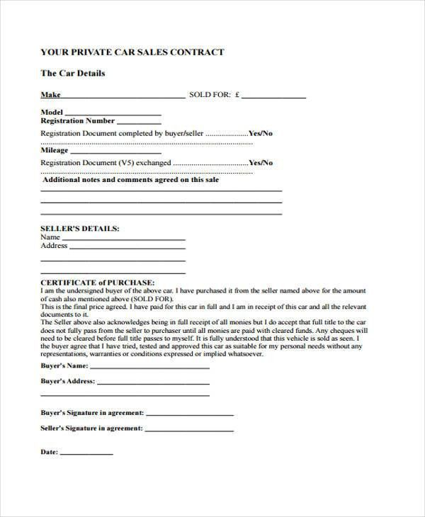 9+ Sale Contract Templates - Free Sample, Example Format Download ...