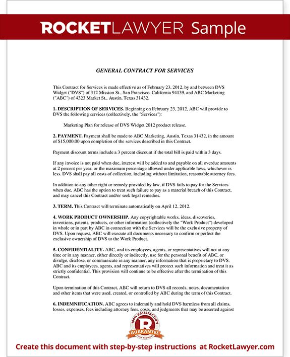 Service Contract Sample Format Contract Template For Services