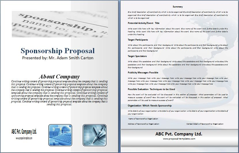 Sponsorship Proposal Template Free | Proposal Templates