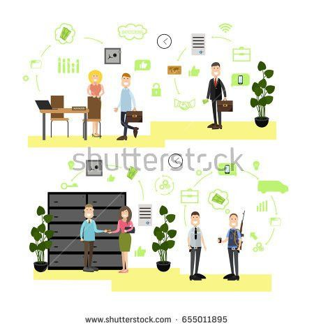 Vector Illustration Bank Managers Customer Service Stock Vector ...
