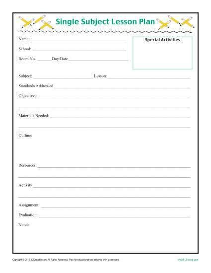 9 Best Images of Daily Lesson Plan Forms - Preschool Printable ...