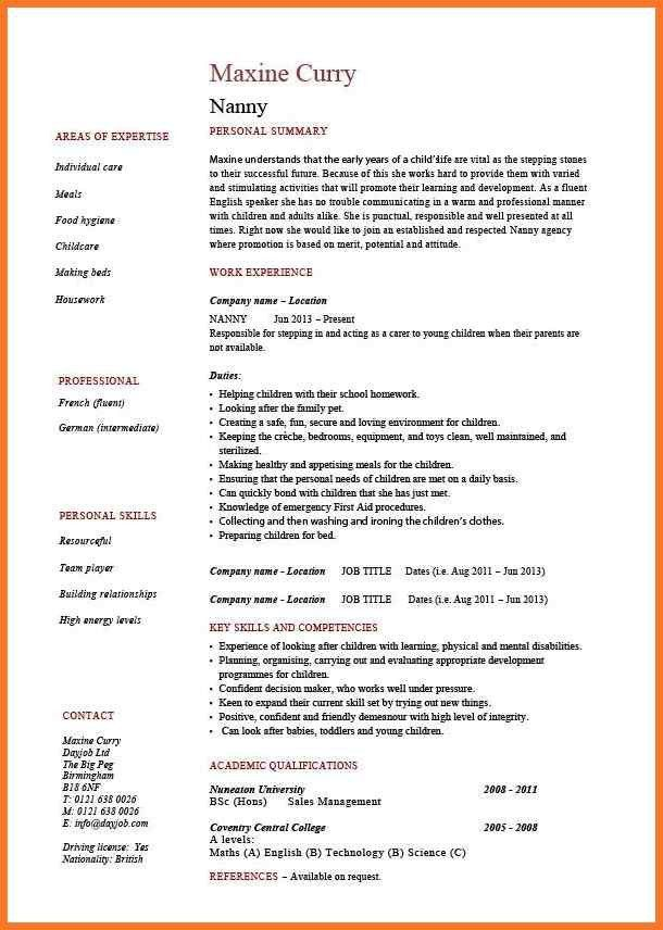 babysitter resume | sow template