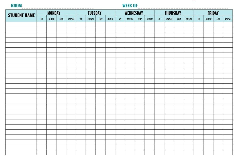 Student Sign In Sheet. Classroom Charts Printable | Guidelines For ...