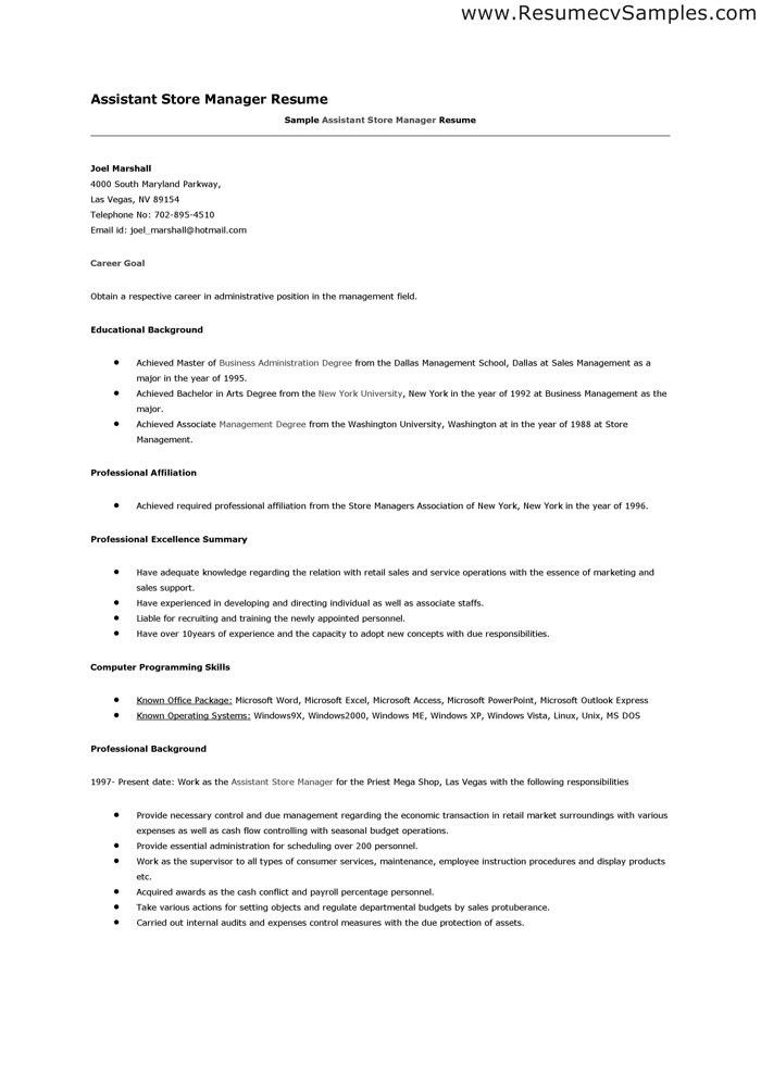 Resume Sample: Sample To Write A Resume For Store Manager In ...
