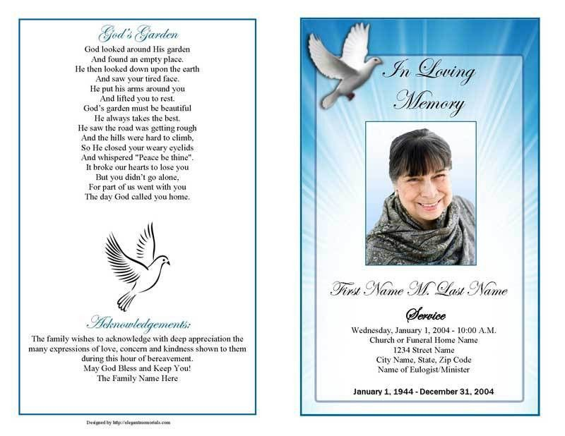 doves funeral program template