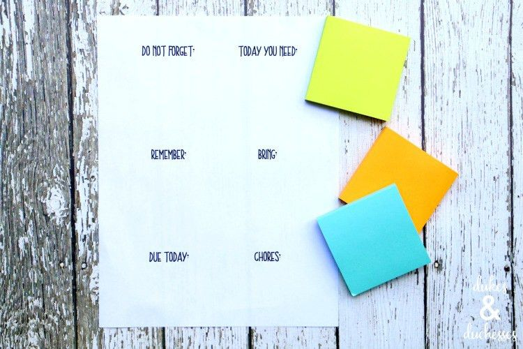 Printable Post It Notes and Tabs for a Planner - Dukes and Duchesses