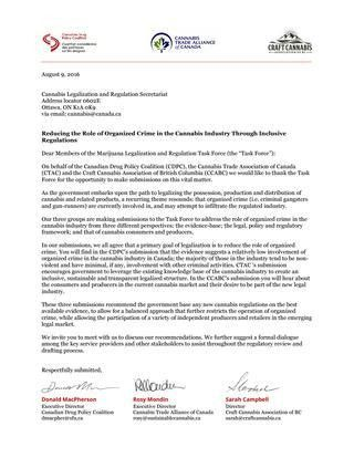 Cover Letter to Government of Canada's Task Force on Marijuana ...