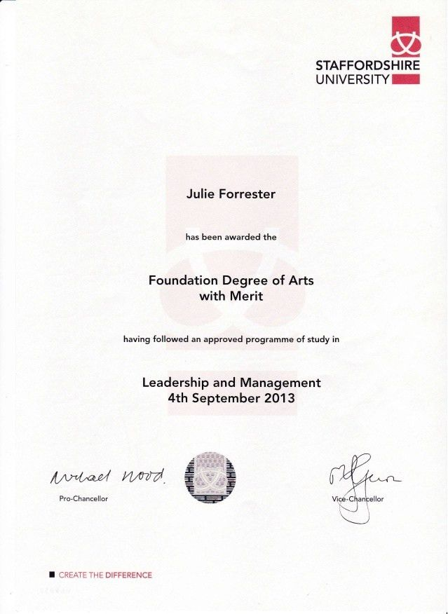 foundation degree certificate ....