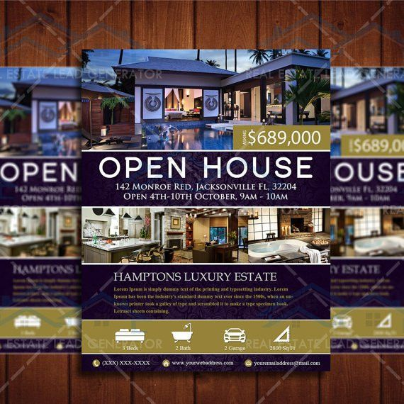 Elegant Realtor Open House Flyer Real by CreativeEtsyDesigns ...