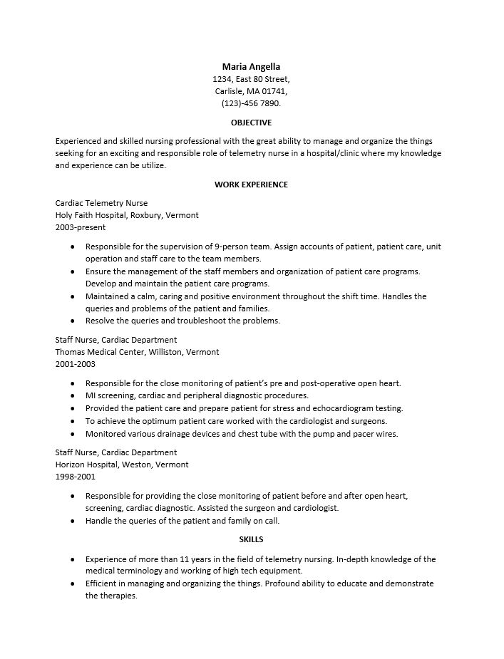 Free Nursing Resume Template | Examples | MS Word