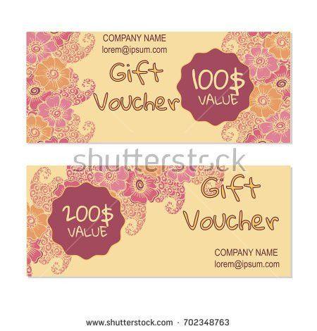 Vector Gift Voucher Card Template Multicolor Stock Vector ...