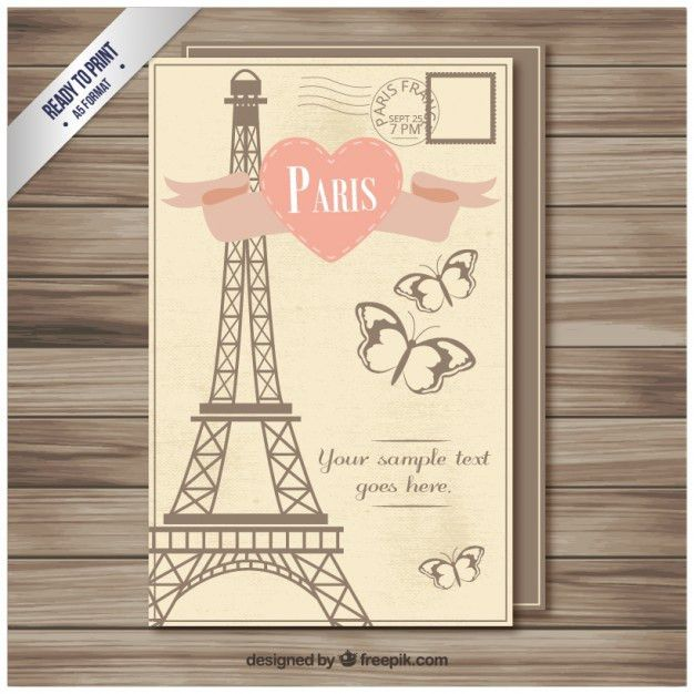 Vintage Paris postcard template Vector | Premium Download
