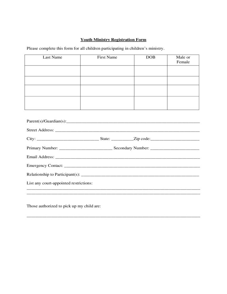 Youth Ministry Registration Form - True Vine Ministries Free Download