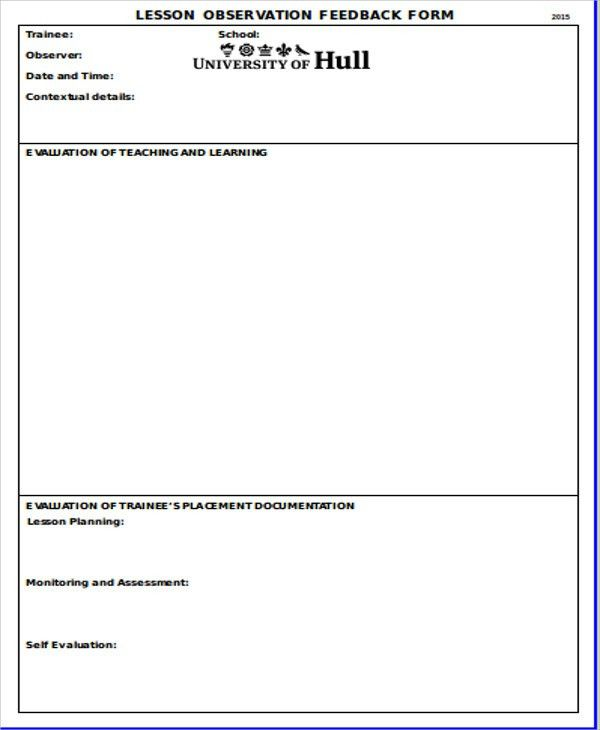 Sample Observation Feedback Form - 10+ Examples in Word, PDF