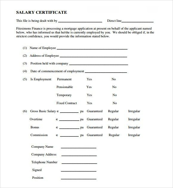 5 Salary Certificate Templates - Excel PDF Formats