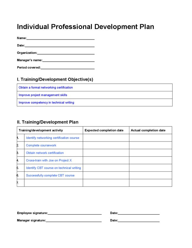 Professional Development Plan Template | Best Business Template