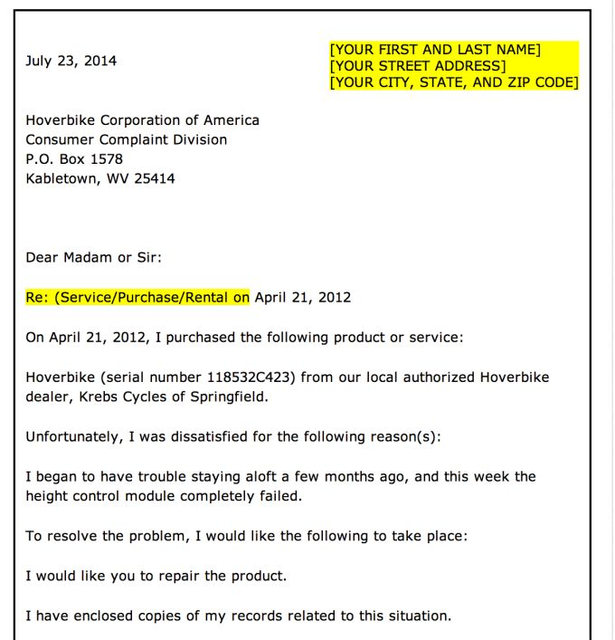 Format Of Complaint Letter Writing - Resume Acierta.us