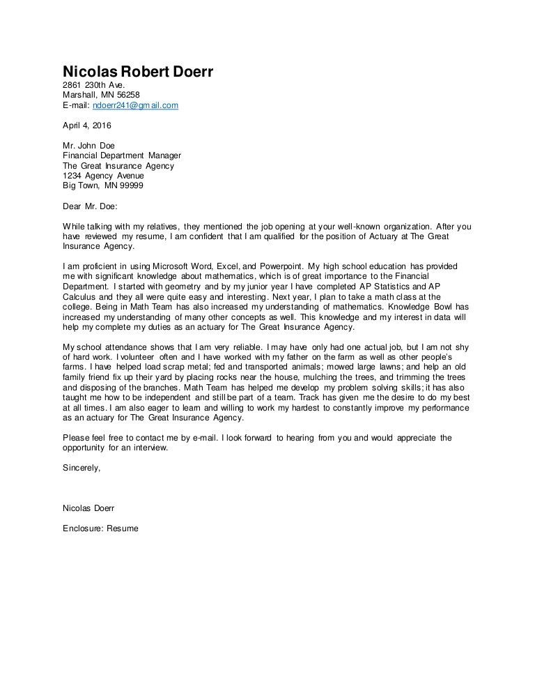 Career Exploration Cover Letter