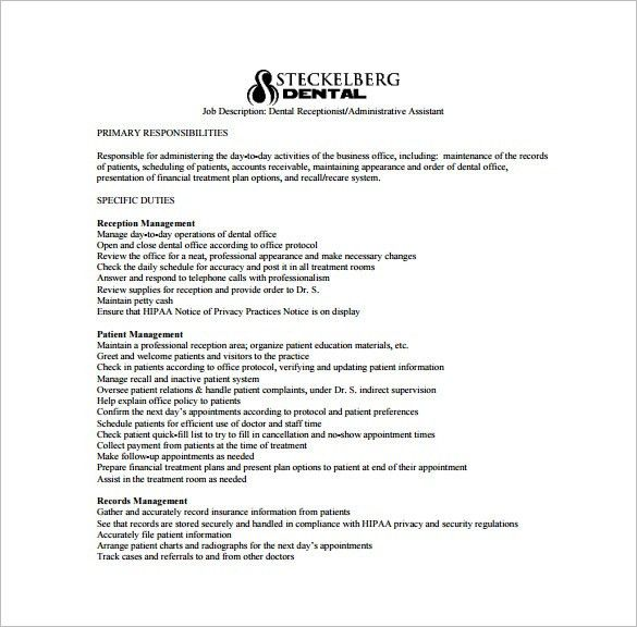 Dental Assistant Job Description Template – 9+ Free Word, PDF ...