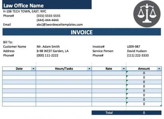 Free Legal (Attorney/Lawyer) Invoice Template | Excel | PDF | Word ...