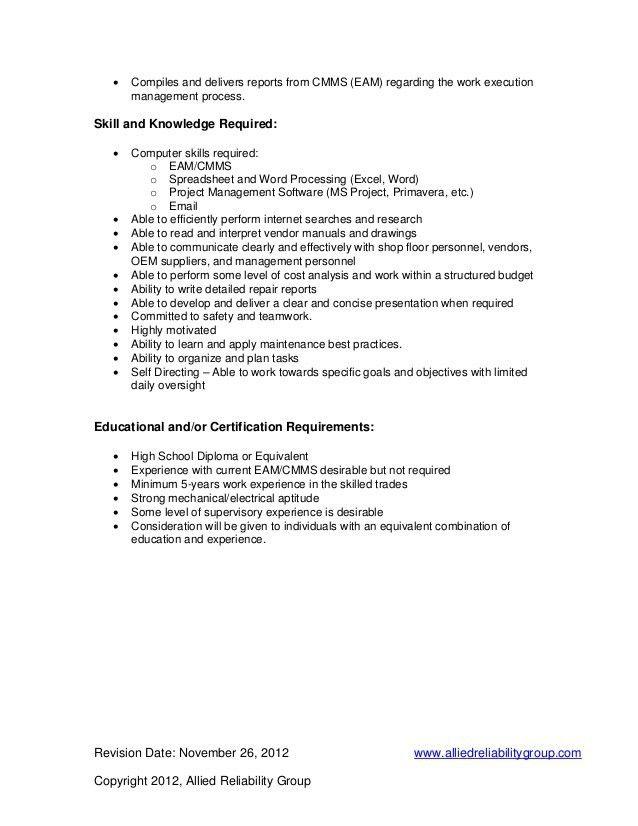 Maintenance Planner Job Description