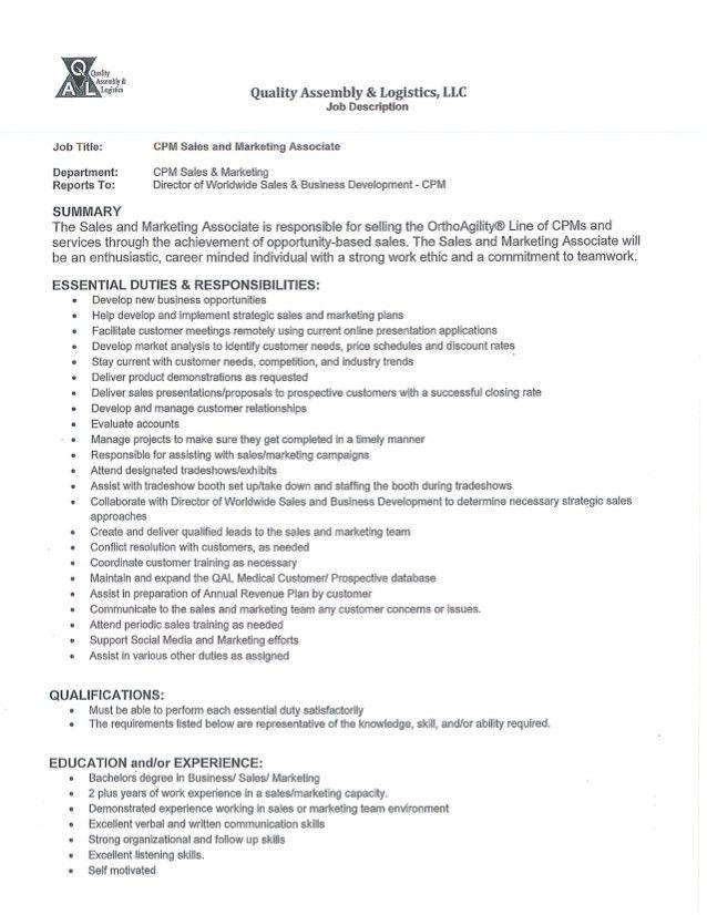 Sales and Marketing Associate - Job Description
