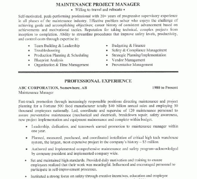 Peachy Design Ideas Maintenance Resume Sample 8 Manager - CV ...