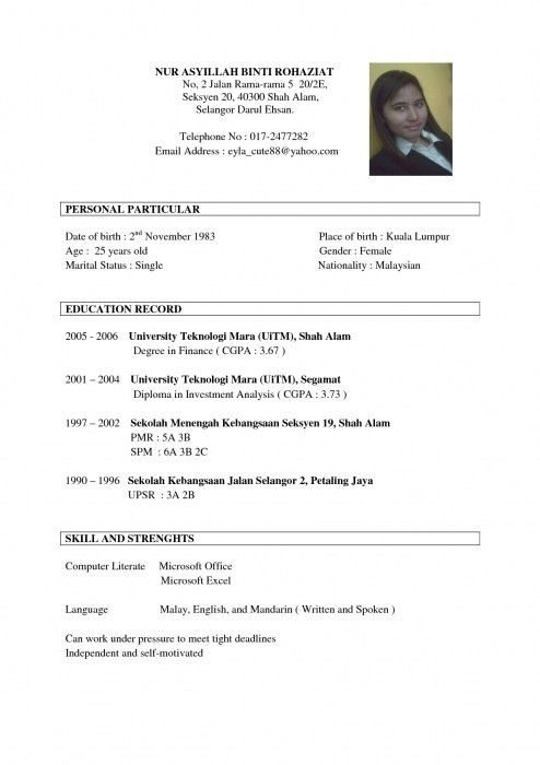 Sample Resume Sample Resume Template For Job Application Example ...