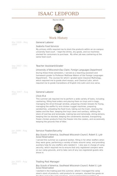 General Laborer Resume samples - VisualCV resume samples database