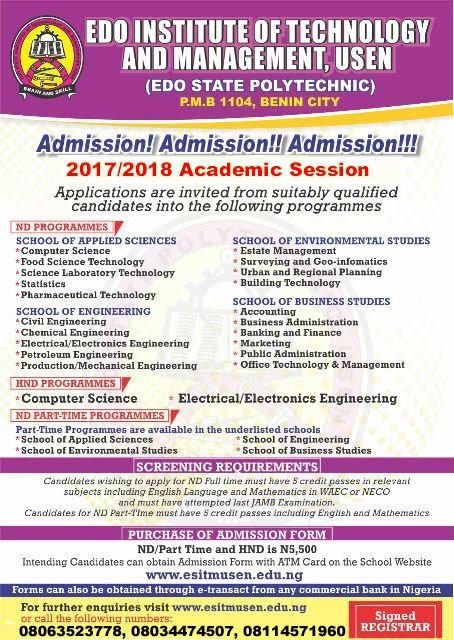 Edo State Polytechnic 2017/2018 ND & HND Admission Form On Sale ...
