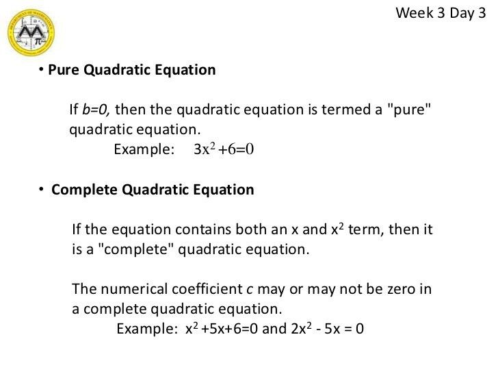 Quadratic equations lesson 3